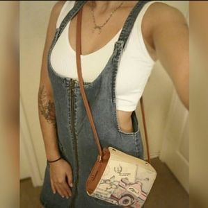 Forever 21 Jean Overall Zipper Dress Size Large